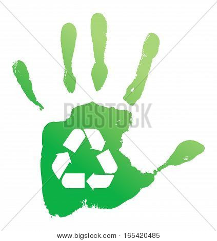 Green handprint with the sign of processing on a white background. Vector illustration