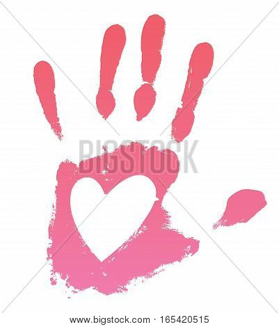Pink handprint with heart, on a white background. Vector illustration
