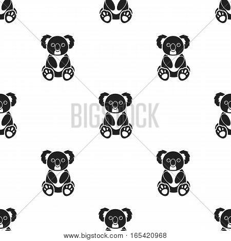 Koala icon in black style isolated on white background. Animals pattern vector illustration.