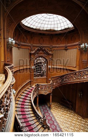 Lviv, Ukraine - January 8, 2017: Royal Palace With Wooden Design On City Lviv, Ukraine. House Of Sci
