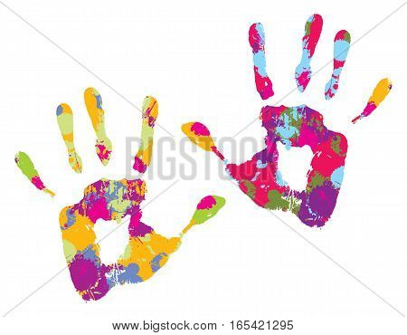 Two multi-colored handprints, on a white background. Vector illustration