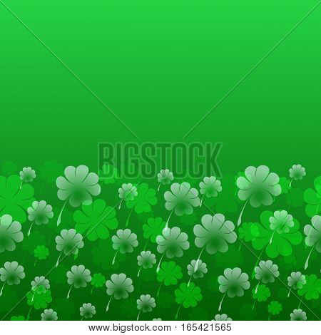 Abstract St. Patrick s Day vector pattern. Transparent four-leaf clover on a green background as a symbol of the holiday. Free space for your text. Usable for design greeting card, banner, invitation, poster, screen