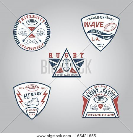 SET OF BADGE RUGBY. Handmade football ball, shoes, helmet retro style. Design fashion apparel texture print. T shirt graphic vintage grunge vector illustration badge label logo template.