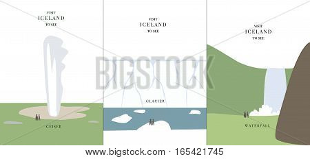 Geyser glacier and waterfall simple cartoon design vector illustration Iceland invitation card travel tourism landscape background nature