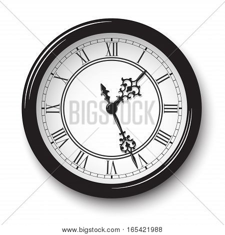 Vector elegant roman numeral wall clock in black glossy body with soft shadow isolated on white background