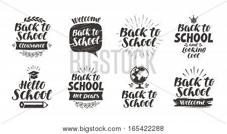 Back to school, set icons. Handwritten lettering. Label vector illustration isolated on white background