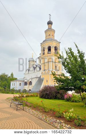 Spassky Cathedral with bell tower in Saviour Priluki Monastery by cloud day near Vologda Russia.