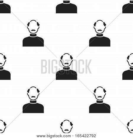 Bald head icon black. Single avatar, peaople icon from the big avatar black. - stock vector