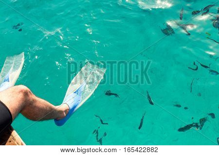 Male diver sitting in flippers on a background of blue water. Copy space
