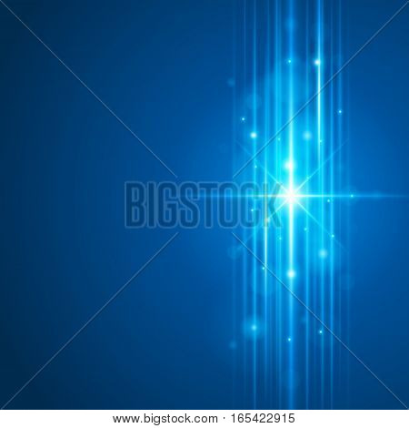Smooth light blue waves lines and Lens Flares vector abstract background. Good for promotion materials, brochures, banners. Abstract Backdrop, Glowing effects.