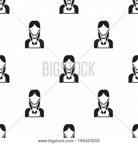 Pigtails icon black. Single avatar, peaople icon from the big avatar black. - stock vector