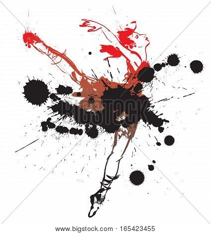 Dancing girl with spots and splashes. Vector illustration