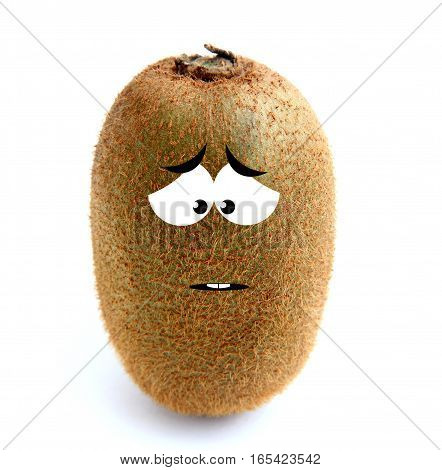 Sad kiwi fruit isolated over white background