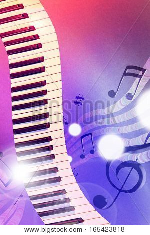 Illustration Keyboard With Red And Blue Lights Vertical