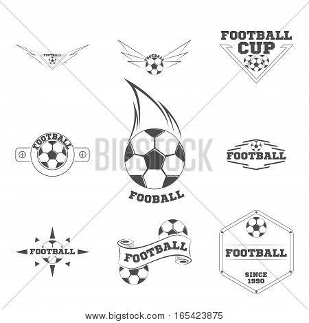 Set Football logo for the team and the cup on a white background
