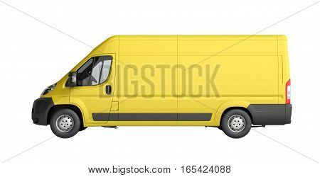 3D Render Of Yellow Delivery Van Icon No Shadow
