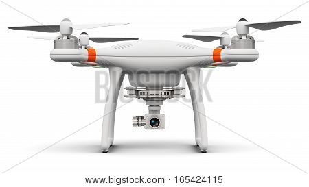 3D render illustration of professional remote controlled wireless RC quadcopter drone with 4K video and photo camera for aerial photography isolated on white background
