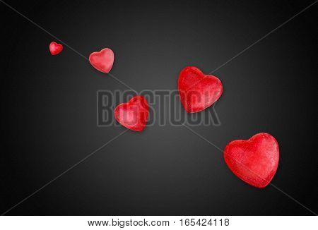 Red Hearts for Valentines Day on black background
