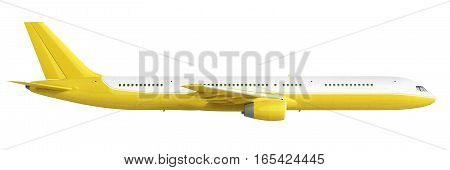 White And Yelow Airplane 3D Rendering On White Background
