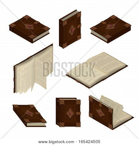 Set of old books or tutorials. Isometric flat vector.