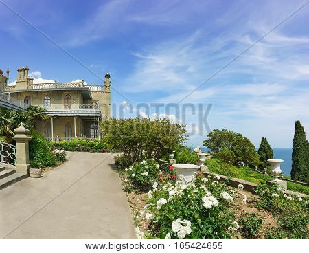 Roses on the terraces on the South side of the Vorontsov Palace. Yalta Alupka Crimea Russia