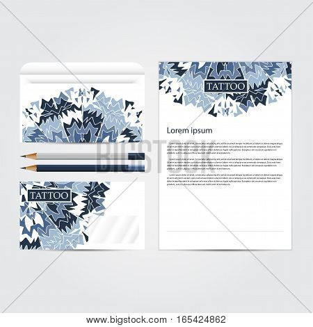 Corporate concept identity Tattoo salon  template set. Diamond business stationery mock-up. Branding design.  Vector illustration.