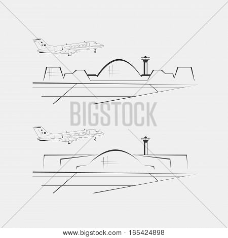 Airport buildings isolated on background. Terminal architecture. Vector illustration