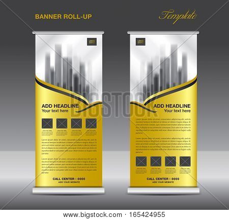 Gold Roll up banner template vector, flyer, advertisement, x-banner, poster, pull up design, display, vector illustration
