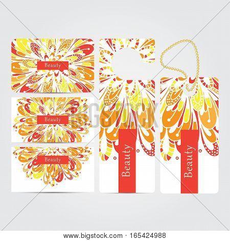 Beauty salon corporate concept identity template set. Business stationery mock-up  with mandala floral design. Branding design. Vector illustration.