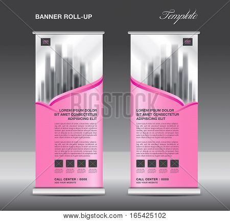 Pink Roll up banner template vector flyer, advertisement, x-banner, poster, pull up design, display, vector illustration