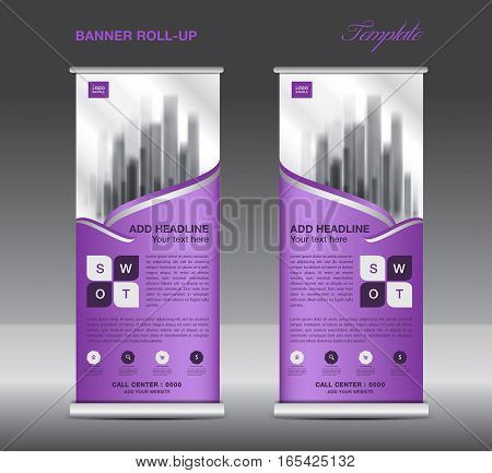Purple Roll up banner template vector flyer advertisement x-banner poster pull up design display vector illustration