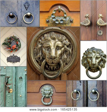 A collage of photos on lion door handles close up .