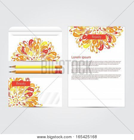 Beauty salon corporate concept identity template set. Business stationery mock-up  with mandala floral design. Branding design. Vector illustration.