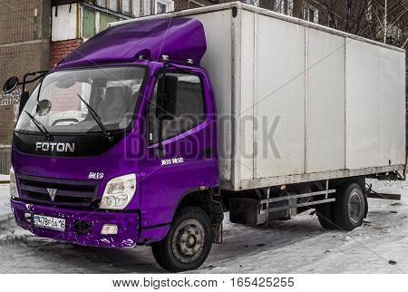Kazakhstan, Ust-Kamenogorsk, 10 january, 2017: Foton truck, side view, violet truck