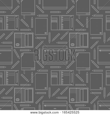 Seamless pattern with notebooks and pencils. Can be used for graphic design, textile design or web design.