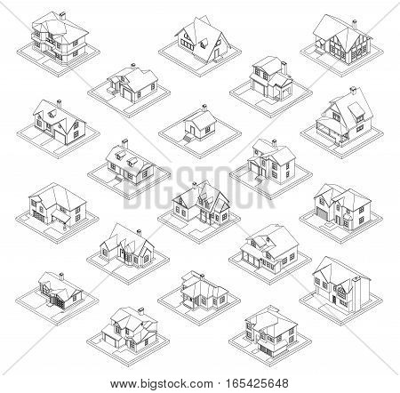 3d drawing of private house, vector illustration set for coloring book