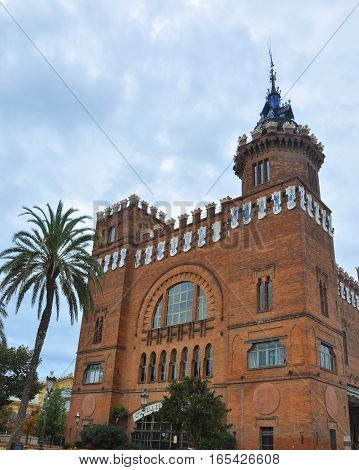 Park Ciutadella Barcelona Catalonia Spain. Castell dels Tres Dragons - modernist style architecture building castle designed by Lluis Domenech i Montaner