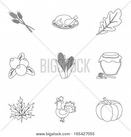 Canadian Thanksgiving Day set icons in outline style. Big collection of canadian Thanksgiving Day vector symbol stock