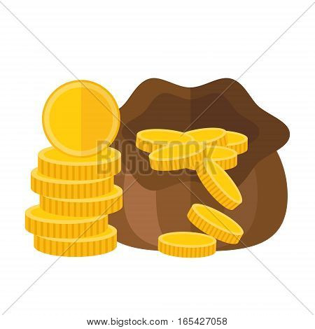 Pouch or sack full of money with falling gold coins. Vector icon illustration. Wealth or savings purse symbol in flat design.