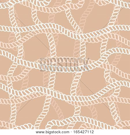 Seamless vector pattern with marine rope on beige background.