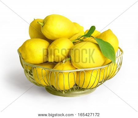 Bowl Of Lemons  Isolated On White