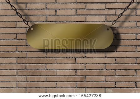 Sheet metal on an old brick wall