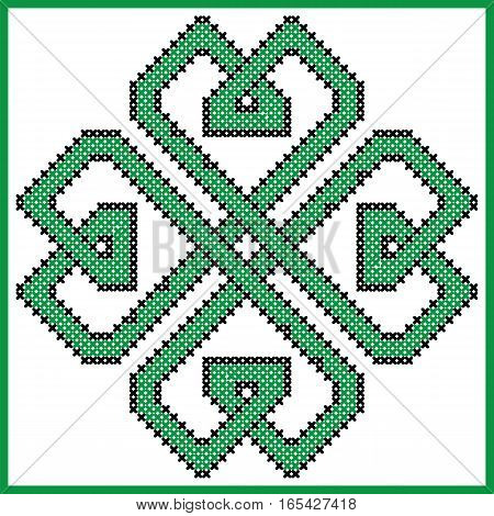 Celtic  endless knot in clover with hearts elements  shape in black and green cross stitch pattern on white and black background inspired by Irish St Patrick's day and ancient Scottish culture