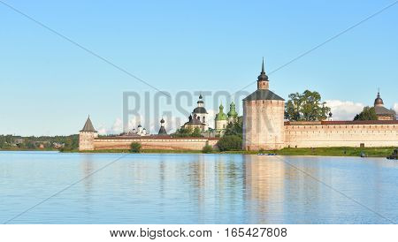 Kirillo-Belozersky monastery by evening near City Kirillov Vologda region Russia.