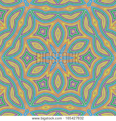 Abstract Concentric Pattern From Colorful Lines