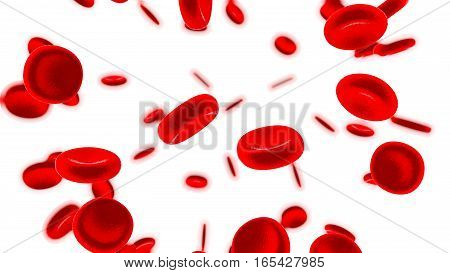 Red blood cells 3D render isolated on white.