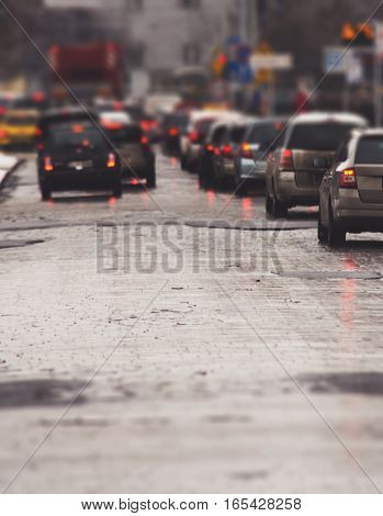 Traffic Jam In The City, Winter, Defocused Cars, Vintage Effect, Tilt Shift Lens.