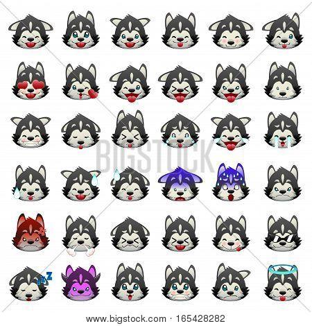 A vector illustration of Siberian Huskies Dog Emoji Emoticon Expression
