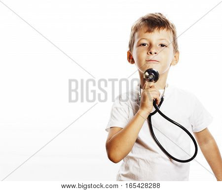 little cute boy with stethoscope playing like adult profession doctor close up smiling isolated on white background