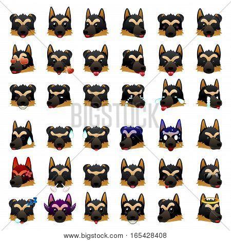 A vector illustration of German Shepherd Dog Emoji Emoticon Expression